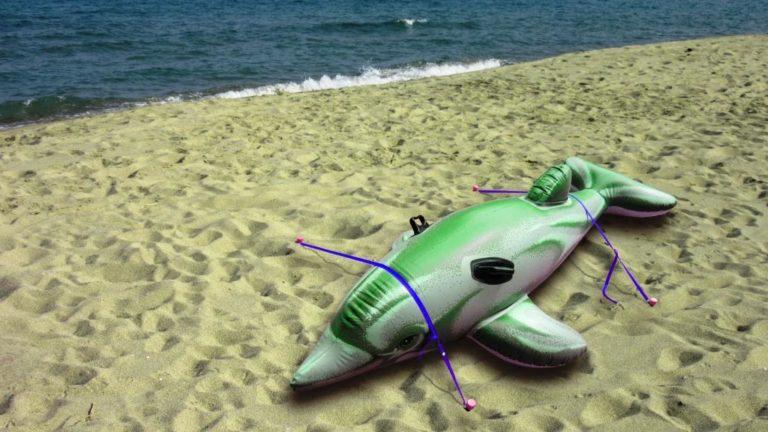 attachez votre dauphin gonflable avec Stopenvol